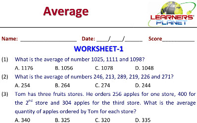 maths practice worksheets on Averages for class five students