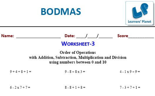 Maths BODMAS Worksheets for fifth class students
