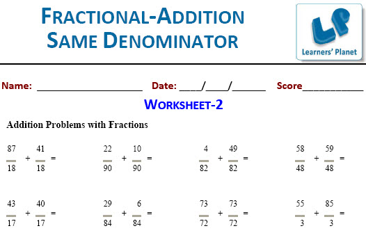 5th class Maths worksheets for Fraction Calculations