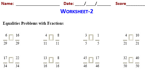 math Fraction Equalities worksheets for fifth graders