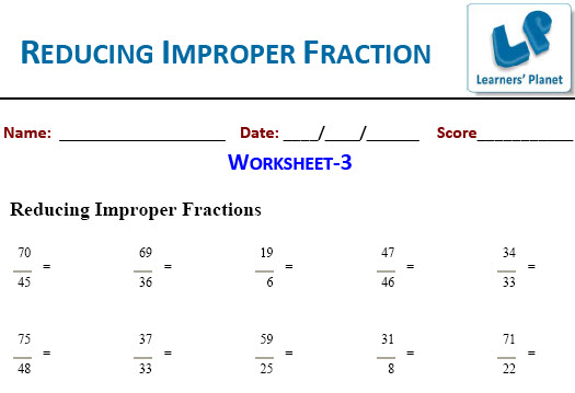 Grade-5 Maths worksheets for Fractions-Reducing