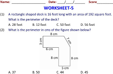 grade 5 math worksheets for Geometry and Mensuration