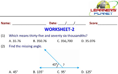 math worksheets on Mixed Review for class 5 students