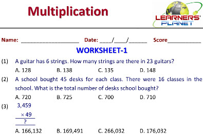 practice worksheets for Multiplications in maths grade 5 kids