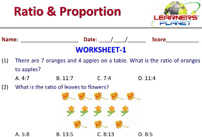 Maths worksheets on Ratio and Proportion for grade 5 students