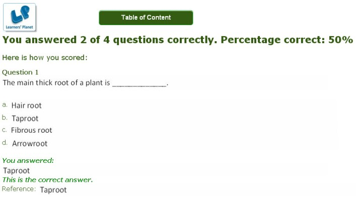 plant life practice quiz for olympiad 5th class
