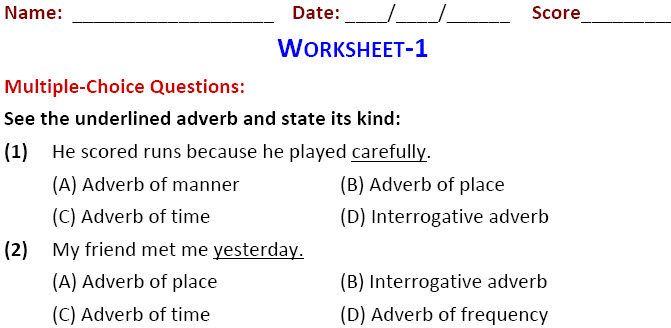 English Grade 6 worksheets for Types of Adverbs