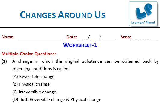 Grade 6 Science online worksheet Changes Around Us for olympiad kids
