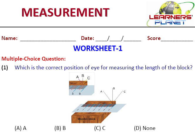 class 6 olympiad online printable worksheet for measurement
