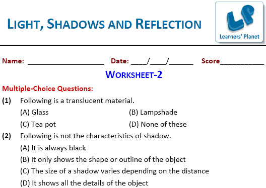 practice worksheets on science for Light Shadows Reflection for – Reflection Worksheet