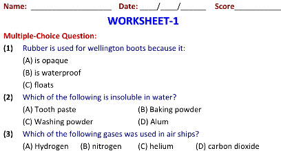 Grade 6 Science practice worksheets on Sorting Materials into Groups