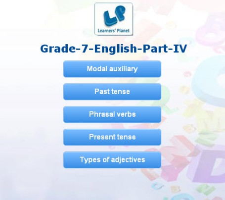 Class 7 interactive english grammar quizzes