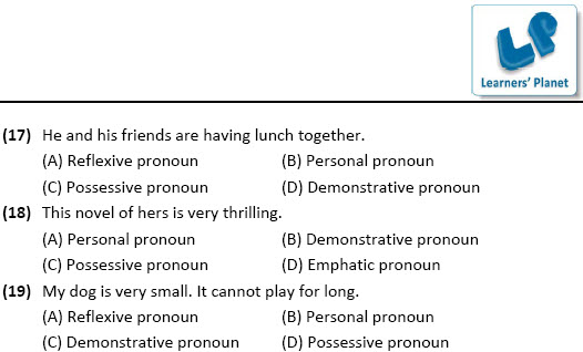 online English worksheets for Types of Pronouns for class 7 students