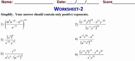 Online Printable Worksheets on Exponents for maths class 7