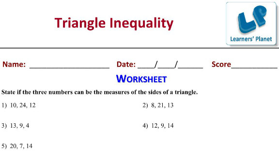 7 ICSE Maths worksheets on Triangles Inequality
