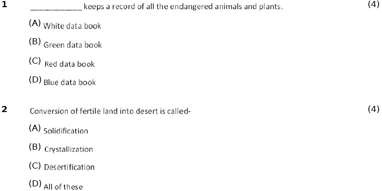 8 CBSE Biology Conservation of Plants and Animals Worksheet