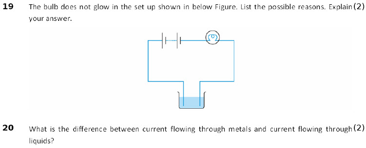 online Physics worksheets Chemical Effects of Electric Current for Grade 8 CBSE students