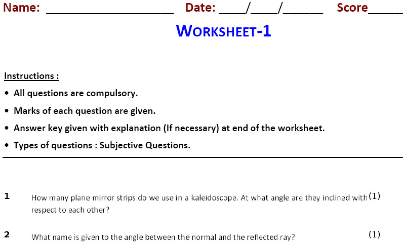 class 8 online printable physics worksheets for Light