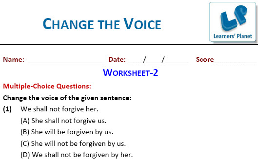 online english worksheets for Change the Voice