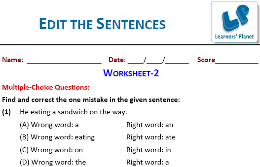 English grammar practice worksheets edit the sentences for cbse ...