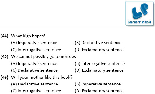 online English practice worksheets for Types of sentences for class 8 students