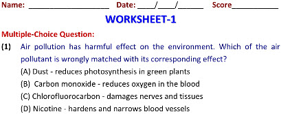 Grade 8 Science worksheets on Air & Water Pollution