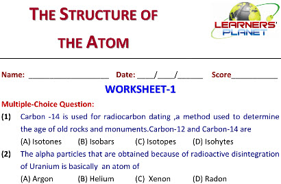 Science practice worksheets Structure of Atom for class 8 students