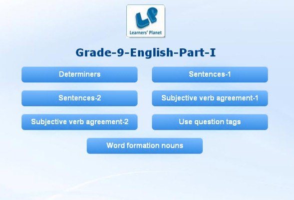 English grade 9 cbse grammar interactive quizzes for kids