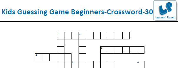 Very easy crossword puzzle for english language