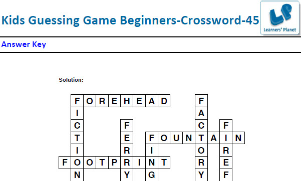 Crossword puzzles worksheets for kids fun zone