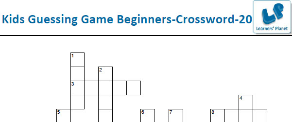 Kids guessing game worksheets for crossword puzzles