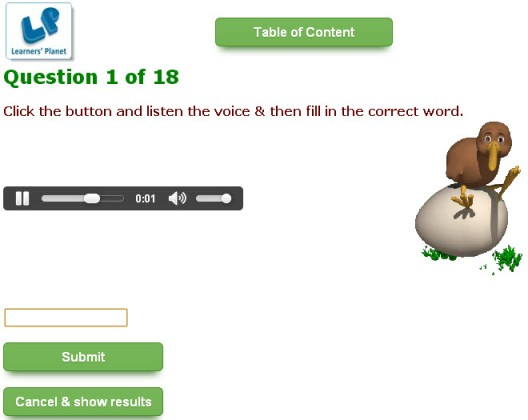 English grammar interactive quizzes on Birds for kindergarten