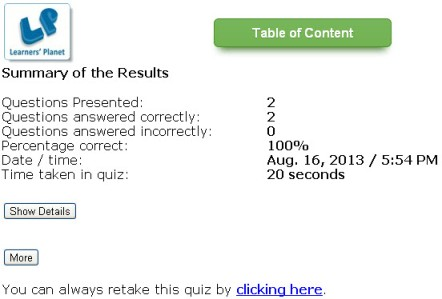 Online interactive quizzes  on english grammar Birds