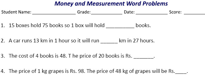 Measurements and money word problems
