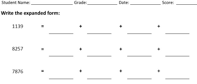Place value worksheet generator