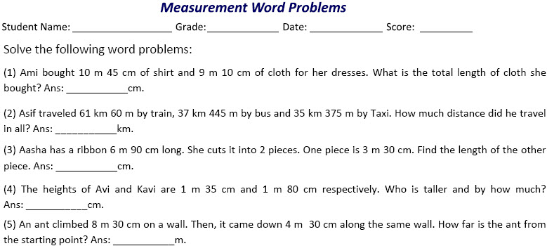 Word problems on measurements worksheet generator