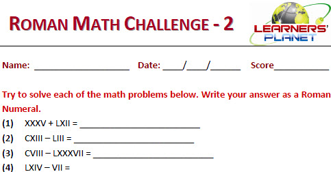 Online maths roman math challenge worksheets for kids