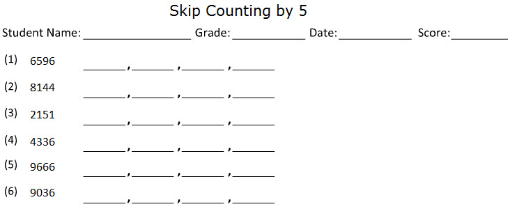 Skip Counting Worksheet Generator