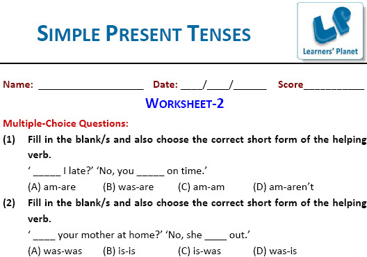 English grammar Simple Present Tenses Worksheets for students