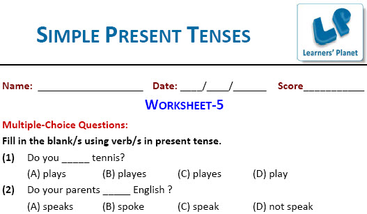 online English Simple Present Tenses worksheets for students tutorials
