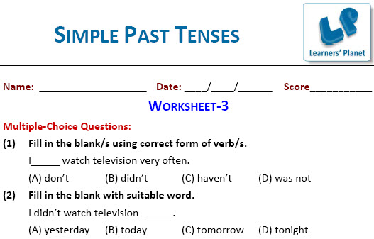 English practice worksheets for Simple Past Tenses
