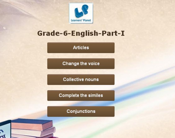 English interactive exercises for grade 6 student