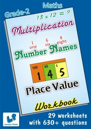 Worksheets on Multiplication and Number Names on maths for class 2 students