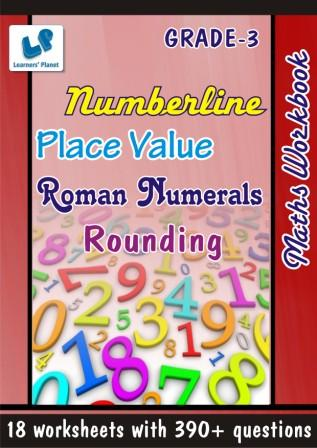 maths Worksheets on Numberline Place and Value Roman for class 3 kids