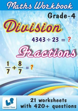 maths Division and Fractions worksheets for class IV kids