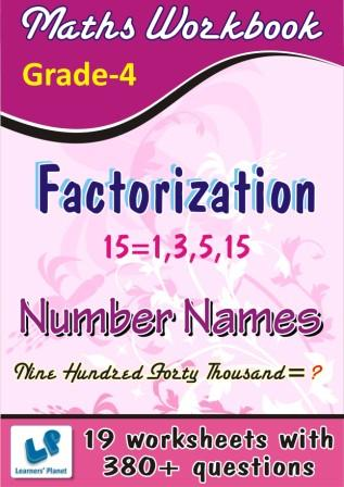Practice worksheets on Factorization and Number Names