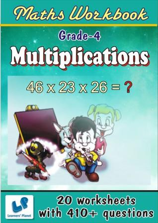 Practice worksheets for Multiplications on maths for fourth class kids