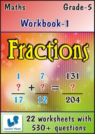 maths worksheets on Fractions for class 5 kids