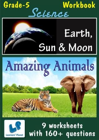 worksheets on amazing animals-earth-sun-moon for science class 5 kids