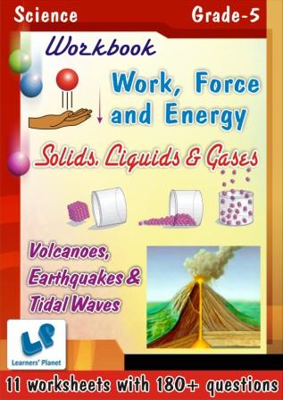 evs worksheets for class 5 on solids-liquids-gases and volcanoes-earthquakes-tidal waves